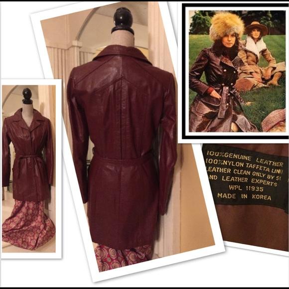 0118f7ea2 1970s True Vintage Korean Belted Leather Jacket M